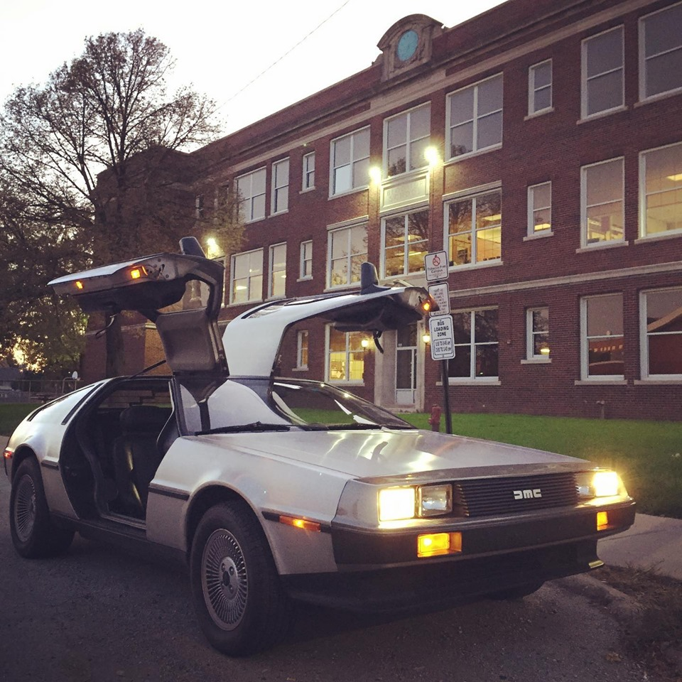 Delorean Car in front of Bloomer Elementary