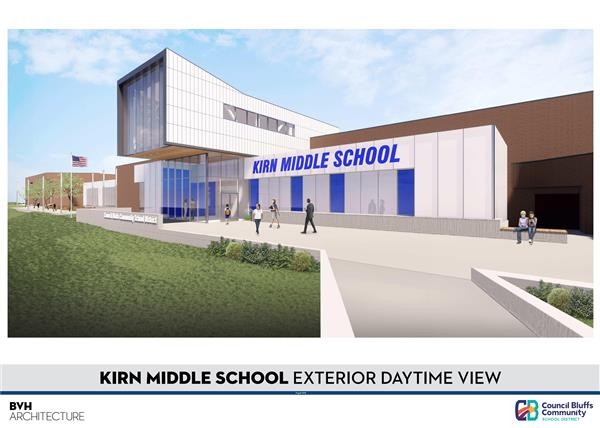Rendering of Proposed New Kirn Middle School Entrance