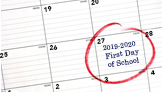 2019-20 First Day of School Calendar Image