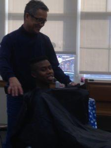 Kanesville students enjoy the Holiday Haircuts.